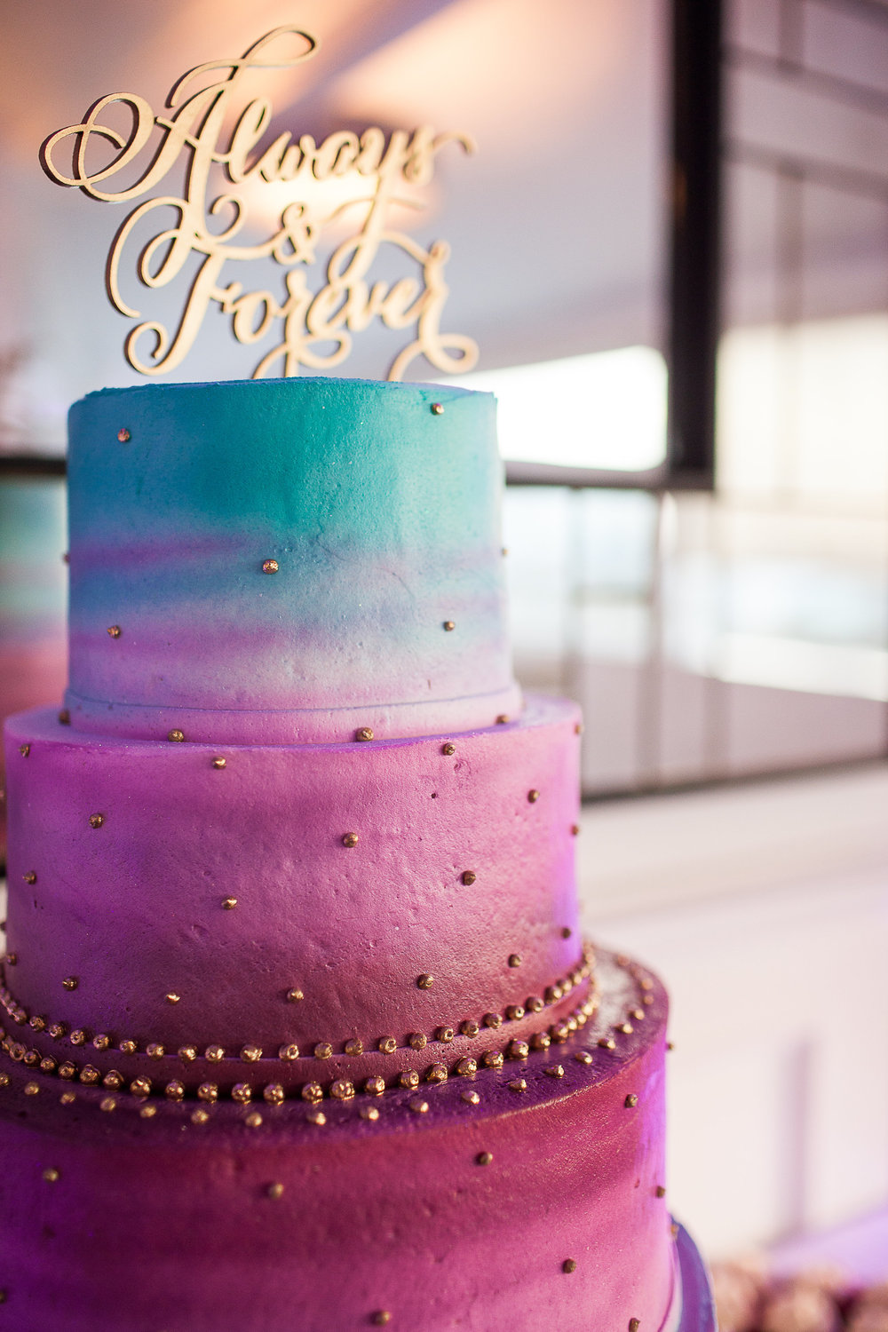 pink purple and blue wedding cake ombre wedding affair 18582