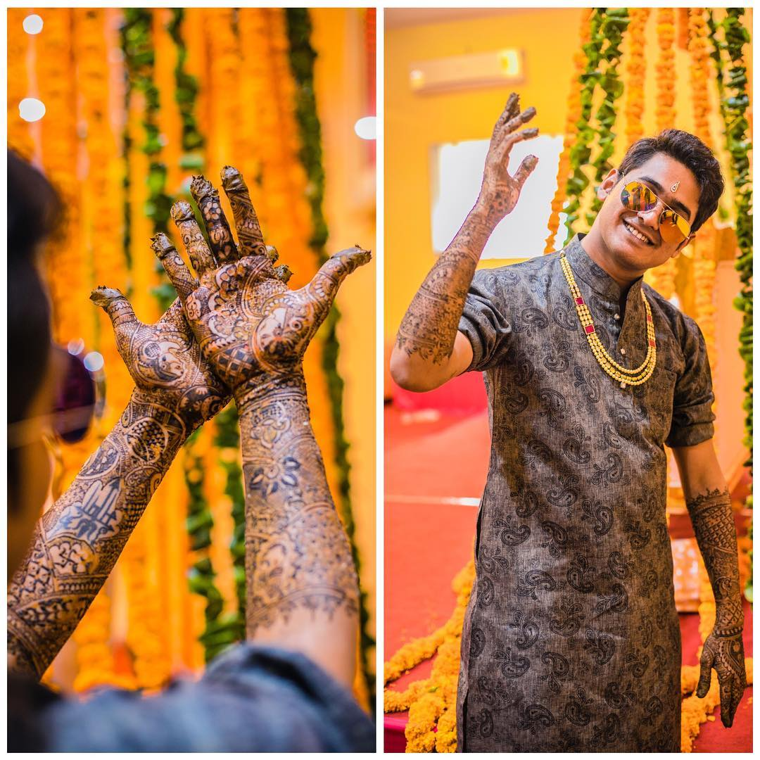 Groom Applying Mehendi